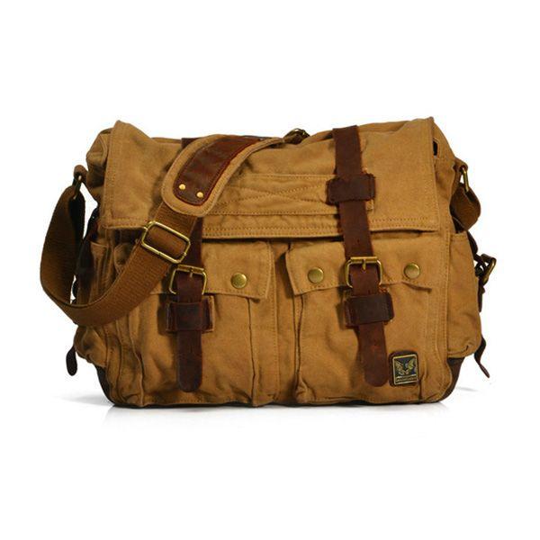 Splice Faux Leather Canvas Shoulder Bag