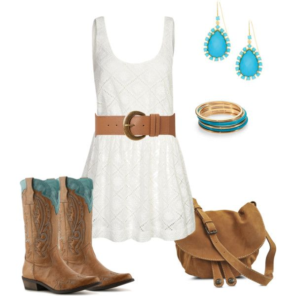 White dress with cowboy boots. Love the blue on the boots.