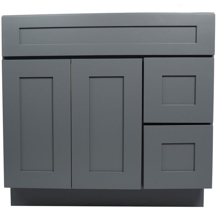 36 inch bathroom vanity single sink cabinet in shaker gray with soft close drawers doors