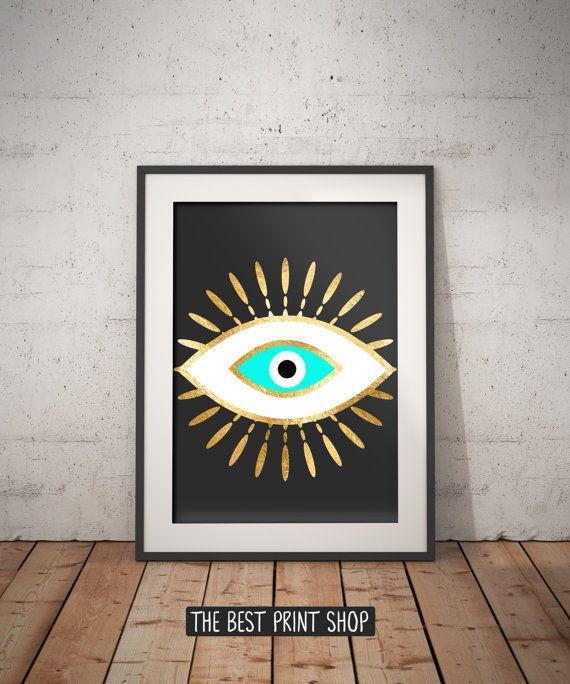Evil eye gold foil print, geometric bohemian poster, black gold turquoise wall art, evil eye, Spiritual Art, printable instant download