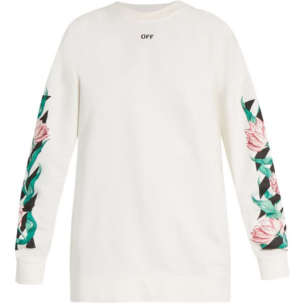 Off-White Diag Tulips oversized cotton-jersey sweatshirt ($375) ❤ liked on Polyvore featuring tops, hoodies, sweatshirts, white, slouchy tops, oversized sweatshirt, embellished sweatshirt, patterned sweatshirt and print top