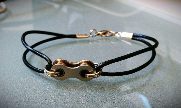 Bike Chain and Leather Bracelet. $12.00, via Etsy.