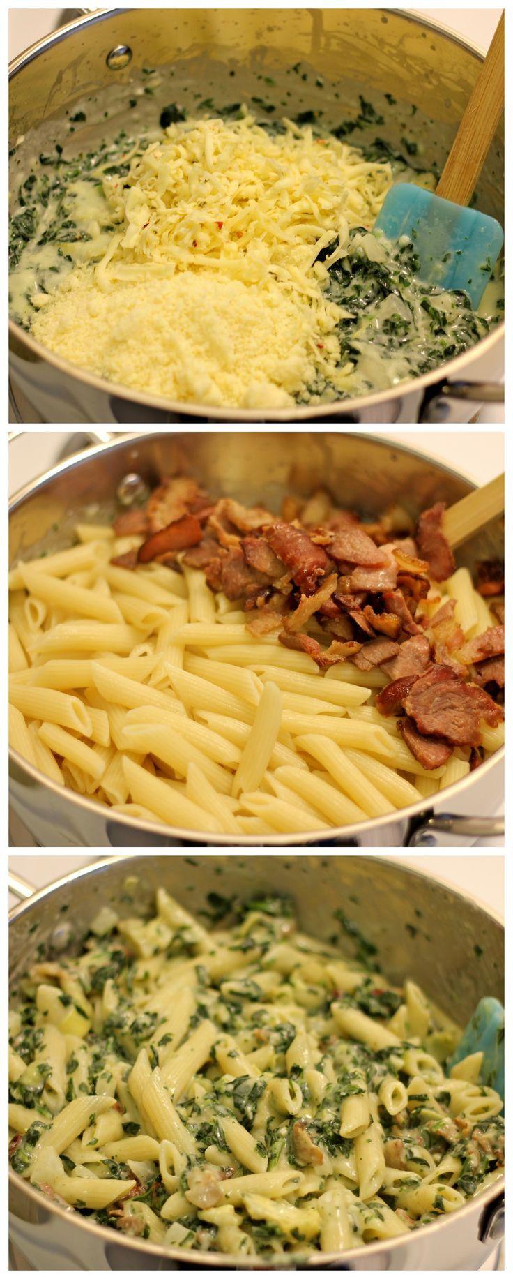 Macaroni with bacon, spinach, cheese, onion and cream Macarrones con panceta, espinacas, queso, cebolla y nata http://www.isladelecturas.es/index.php/noticias/libros/835-las-aventuras-de-indiana-juana-de-jaime-fuster A la venta en AMAZON. Feliz lectura.