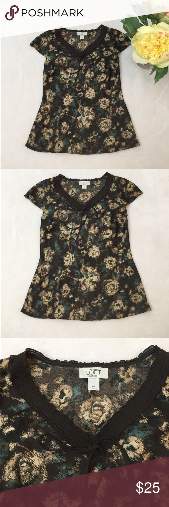 💜LOFT💜brown woman top small petite Gently wore cute brown with flowers top. 100% polyester. LOFT Tops Crop Tops