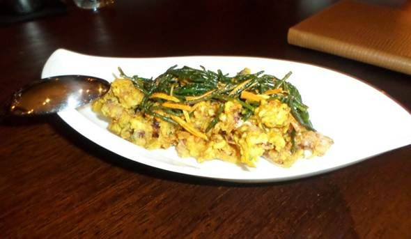 Haldi Chipirones - Baby squid, turmeric, fennel seed, samphire, mango, ginger @ Trishna, London