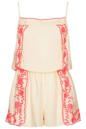 Cream Folk Overlay Playsuit - New In This Week  - New In