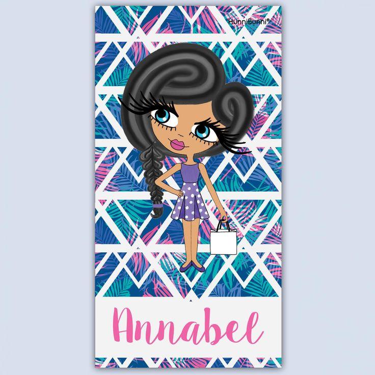 HunniBunni Little Miss Tropical Print Personalised Beach Towel