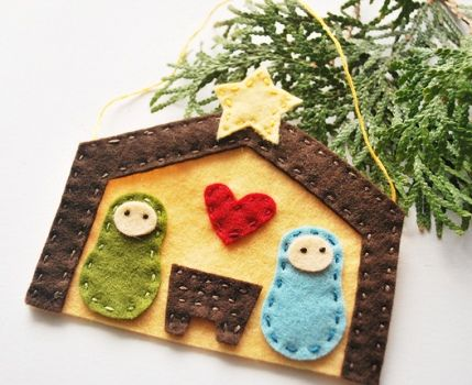 Felt Nativity: Idea, Felt Ornaments, Native Scene, Christmas Ornaments, Nativity Scenes, Nativity Ornaments, Native Ornaments, Felt Native, Kid