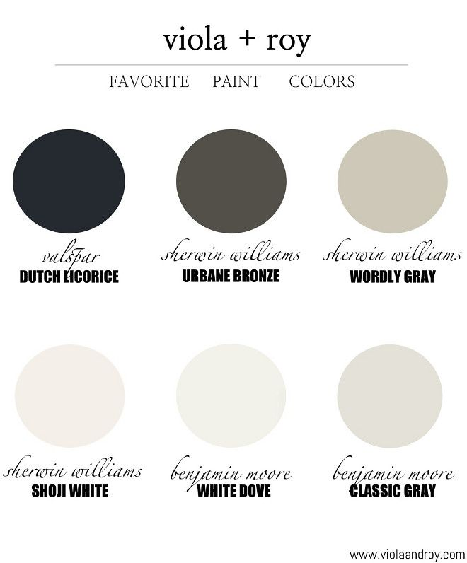 Paint Colors for the Transitional Home: Valspar Dutch Licorice. Sherwin Williams Urbane Bronze. Sherwin Williams Wordly Gray. Sherwin Williams Shoji White. Benjamin Moore White Dove. Benjamin Moore Classic Gray. #shadesofpaintcolours