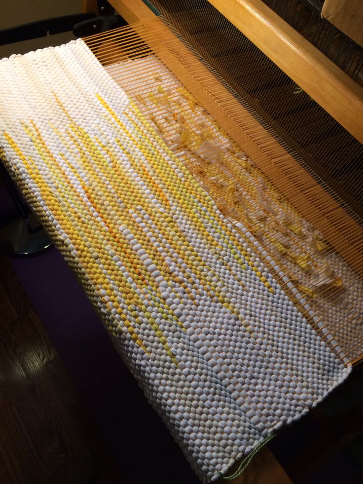Loom woven white and yellow sunshine rug made from recycled t-shirts #heartlandlooms