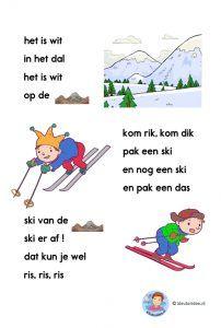 Avi-start verhaal voor kleuteres, thema winter, ski, kleuteridee, free printable