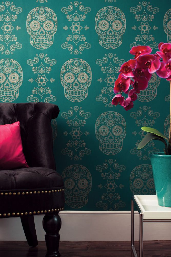 Day of the Dead Wallpaper Now Available in Emerald and Gold