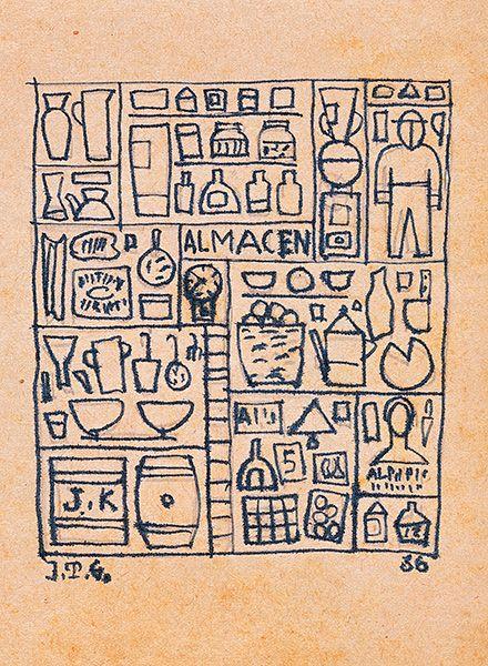 """"""" Constructivo almacén"""" 1936. Tinta sobre papel. 16.3 x 12.7 cm. Bibliografía y exposiciones: Barcelona Museo Picasso, «Torres-García 1874-1949», nov. 2003-abril 2004; nº 266, pg. 274 rep. Joaquín Torres García · Obra · Artistas Vanguardia Histórica, Arte Moderno · Leandro Navarro"""