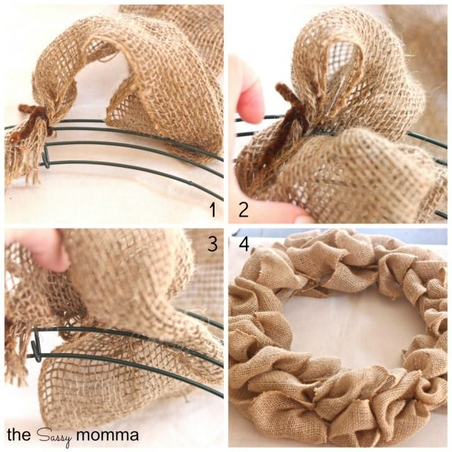 giant velo balenciaga How to make a burlap wreath Work in a blue ribbon  Burlap flowers