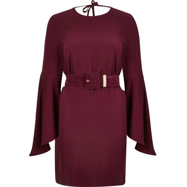 River Island Dark red belted swing sleeve dress (£25) ❤ liked on Polyvore featuring dresses, red, swing dresses, women, red swing dress, dark red dress, river island, trapeze dress and red dress