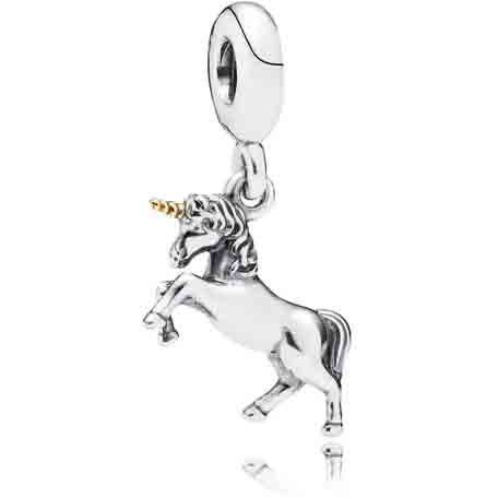 Unicorn  Unicorns symbolize purity and grace. In ancient Greek culture, the unicorn's horn was said to have power to heal sickness. A meaningful dangle in sterling silver with a 14K gold horn.
