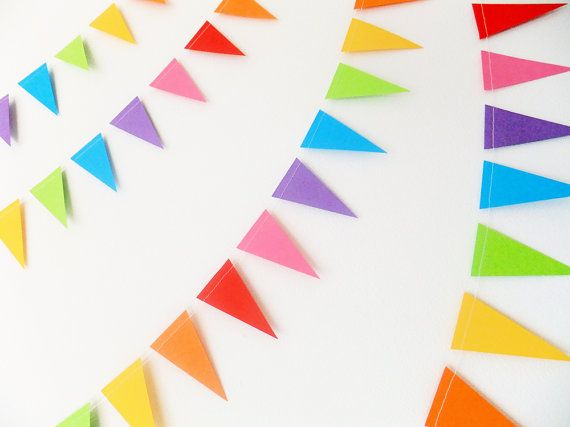 Paper Garland  Rainbow Bunting Flags  10ft Length by FunkyFrillsUK, £7.95