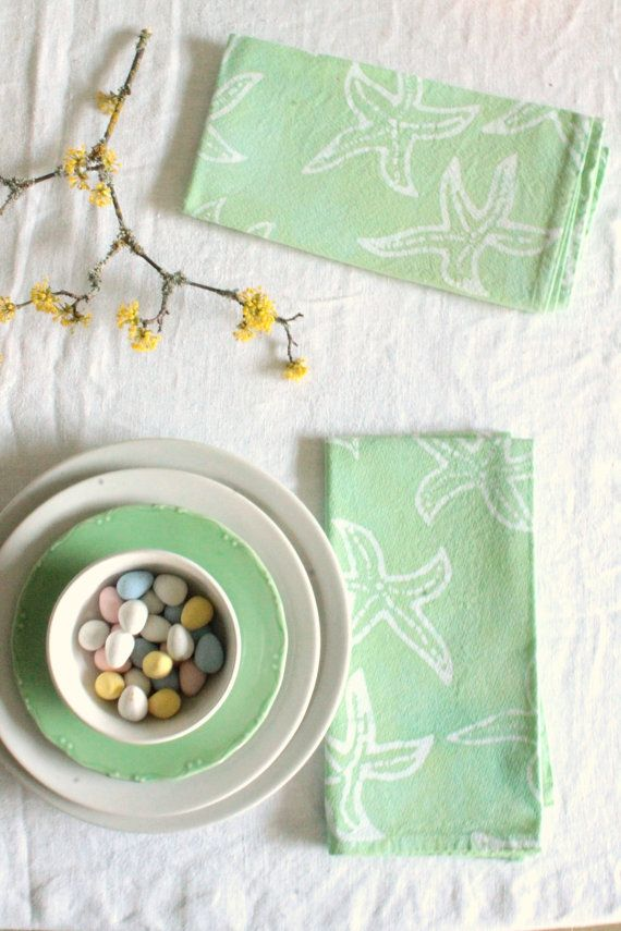 made to order spring napkins: pastel mint starfish by margotbianca
