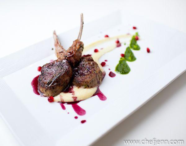 seared lamb chops, parsnip and celery root puree, mint pesto ...