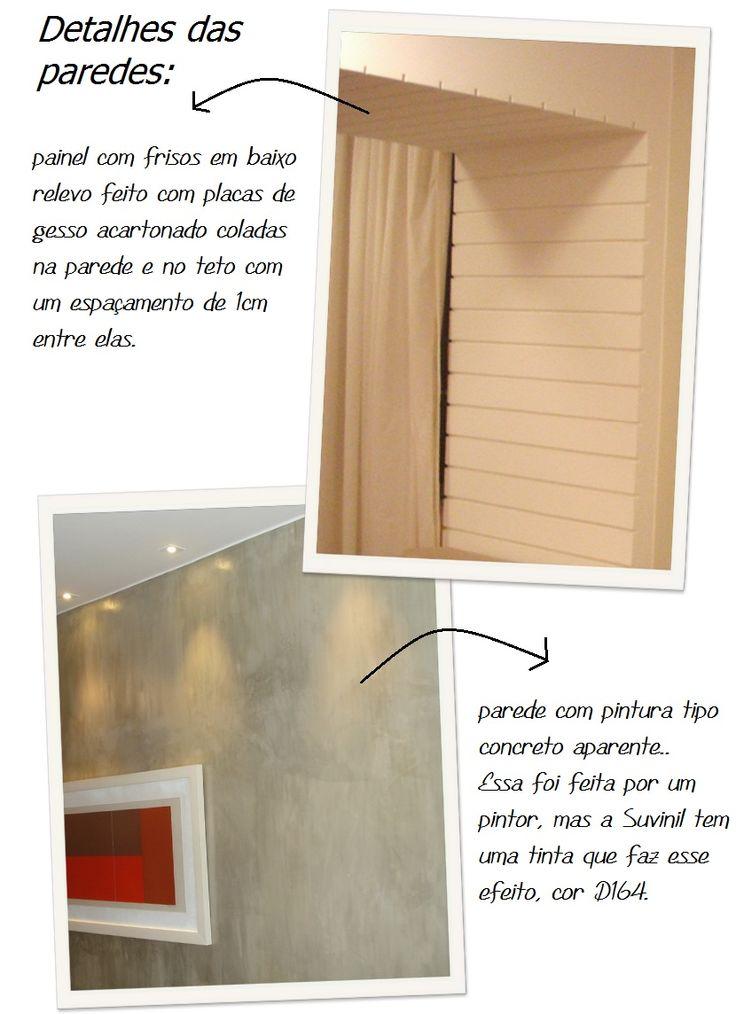 Painel na parede, com frisos em baixo relevo feito com placas de gesso acartonado coladas na parede e no teto com espaçamento de 1cm entre elas.