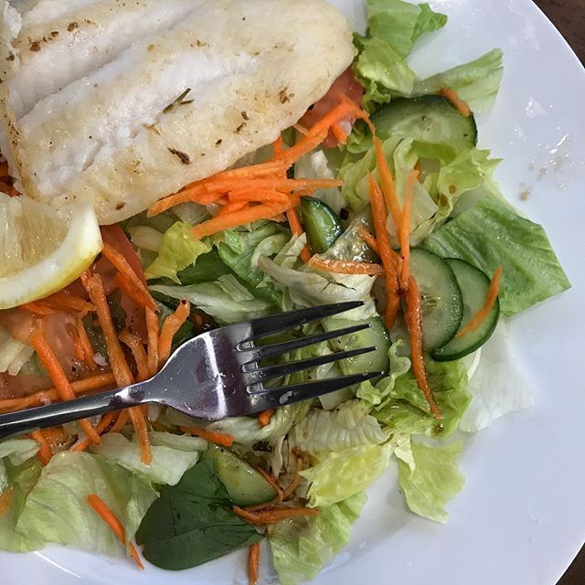 Tonights salad: as a bed to grilled Dory. At the local chippery but no chips. I hate chips. #HealthySalads #DinnerOut