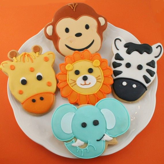 Animal Face Sugar Cookies (12 favors, individually bagged and bowed) on Etsy, $36.00