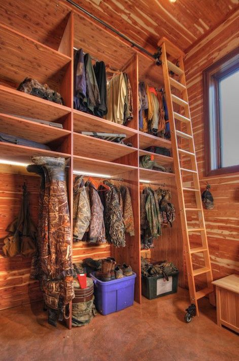 Hunting closet in the man cave