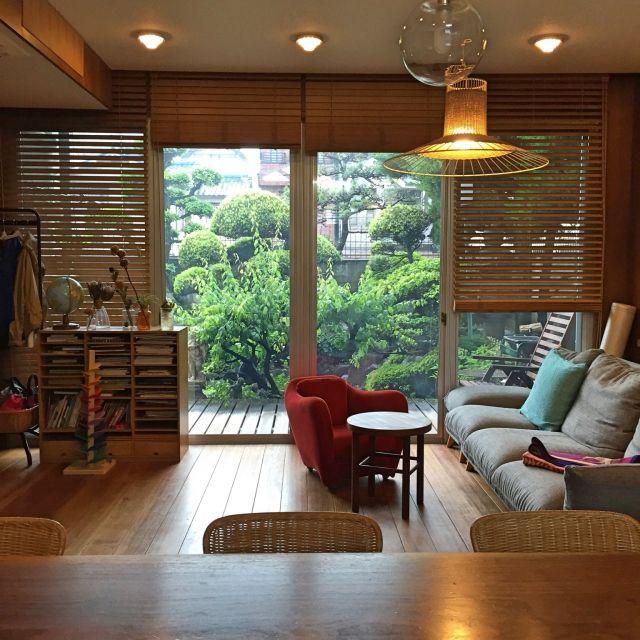 NORiさんの、部屋全体,庭,昭和,IDEE,アクタス,昭和レトロ,ウォルナット,木製ブラインド,梅の木,のお部屋写真