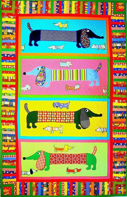 Купить пэчворк одеяло детское с аппликациями ТАКСЫ - пэчворк одеяло детское, лоскутное одеяло детское