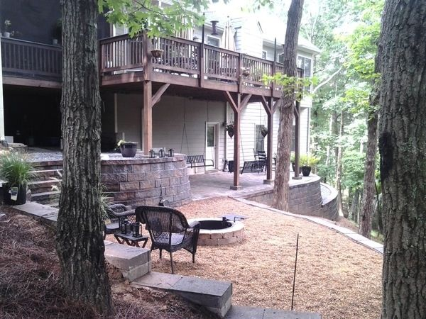 The three-level patio, retaining wall combination makes Behel's backyard usable. (Photo courtesy of Angie's List member Johnson Behel of Waleska, Ga.)