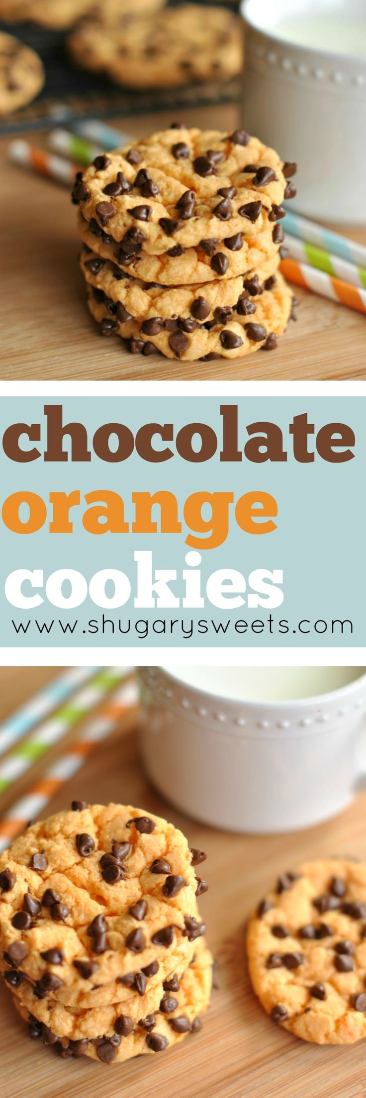 Orange Cake mix cookies rolled in mini Chocolate morsels! An irresistible cookie combination!