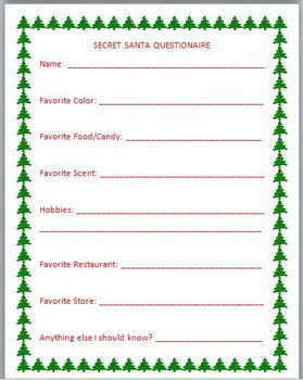 Participating in Secret Santa can be so exciting!  However, what if you pull the name of someone you don't even know?  What will you buy? What if they don't like it?    That happened to me, so I came up with this short questionnaire for the participants to fill out.