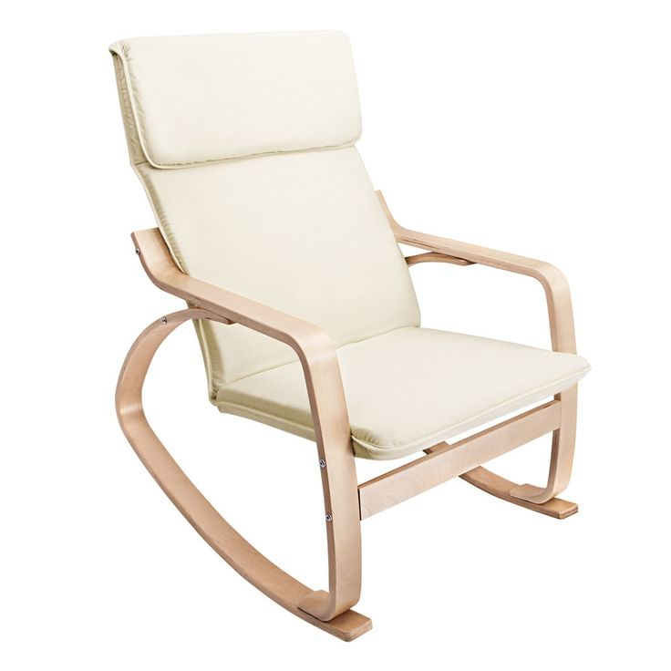 Bentwood Rocking Arm Chair Cushion Wooden Lounge Fabric Recliner Beige