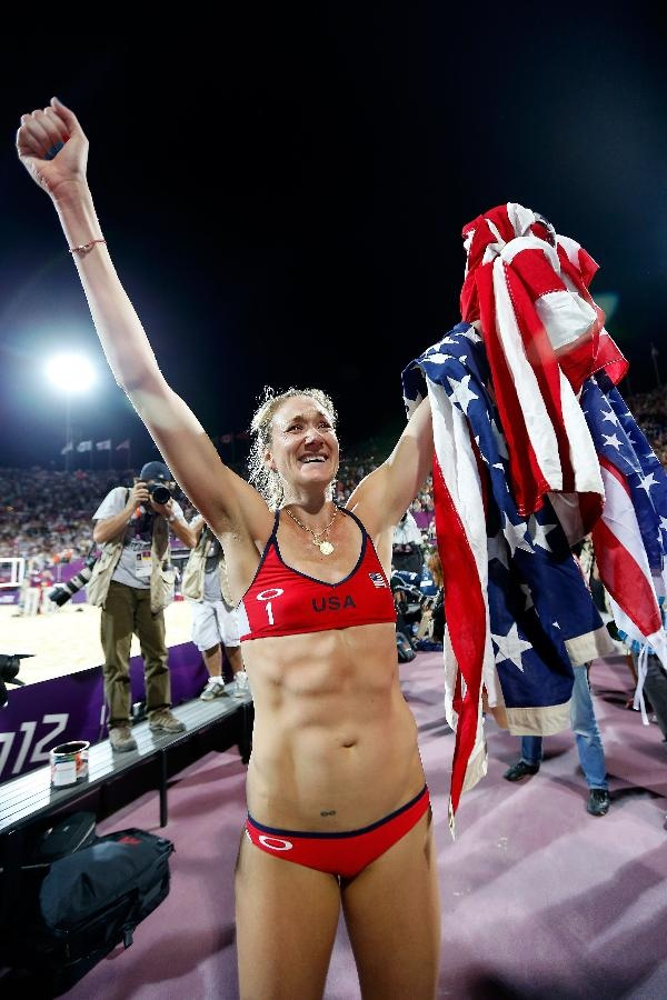 Kerri Walsh Jennings celebrates winning the Gold medal for the Women's Beach Volleyball on Day 12 of the London 2012 Olympic Games at the Horse Guard's Parade on August 8, 2012 in London, England. (Photo by Jamie Squire/Getty Images)