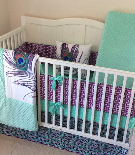 baby girl crib bedding set peacock mint teal purple