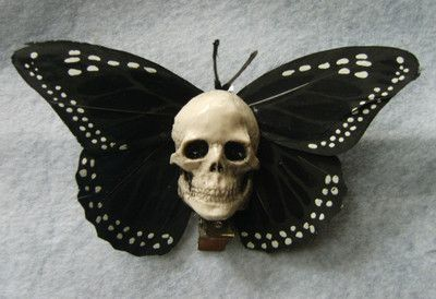 ROCKABILLY 50'S BURLESQUE FASCINATOR GOTHIC STEAMPUNK BUTTERFLY SKULL HAIR CLIP | eBay