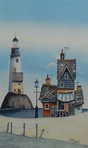 Gary Walton watercolour 'Along the Shore'