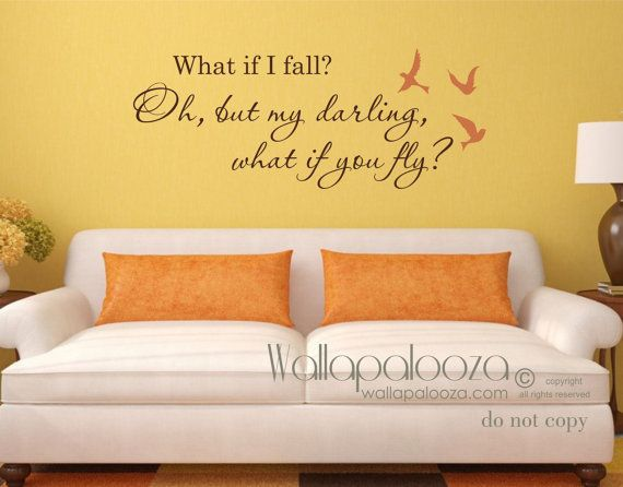 what if i fall wall decal what if i fall wall art what if i fall quote what if you fly girls room decal wall decal - Wall Decals