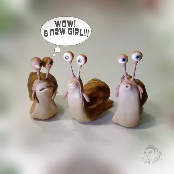 Made to order  These are adorable big-eyed creatures made from polymer clay. Their population is constantly being replenished, so that everyone will be able to get one as a pet.  height 2.3 inch , width 2.8