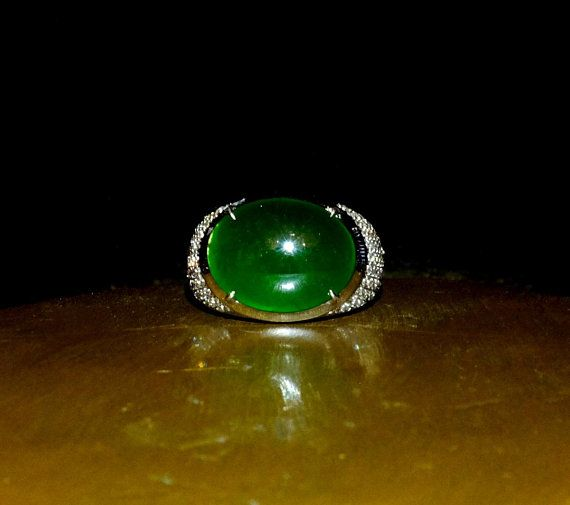 Fine Jadeite Jade Ring Set With A Dark Green Jadeite Jade Cabochon And Accented With Small Diamonds In 18k White Gold Jade Ring Dark Blue Green Jade Jewelry