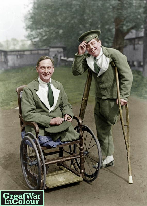 """Are we downhearted?"" - Two disabled WWI vets at the no. 4 General Hospital, London 1918Original image source: IWM, Photographer George P. Lewis"