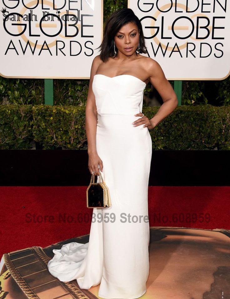 Simple White Mermaid Red Capet Celebrity Dresses 2017 73rd Golden Globe Awards Satin Long Formal Dress Vestido De Festa