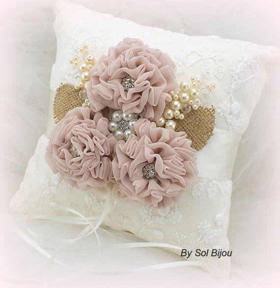Ring Bearer Pillow Bridal Wedding Ivory Blush Cream от SolBijou