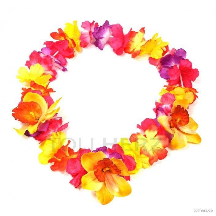 Hawaiikette, Blumenkette in bunt-gelb mit XXL-Blüten