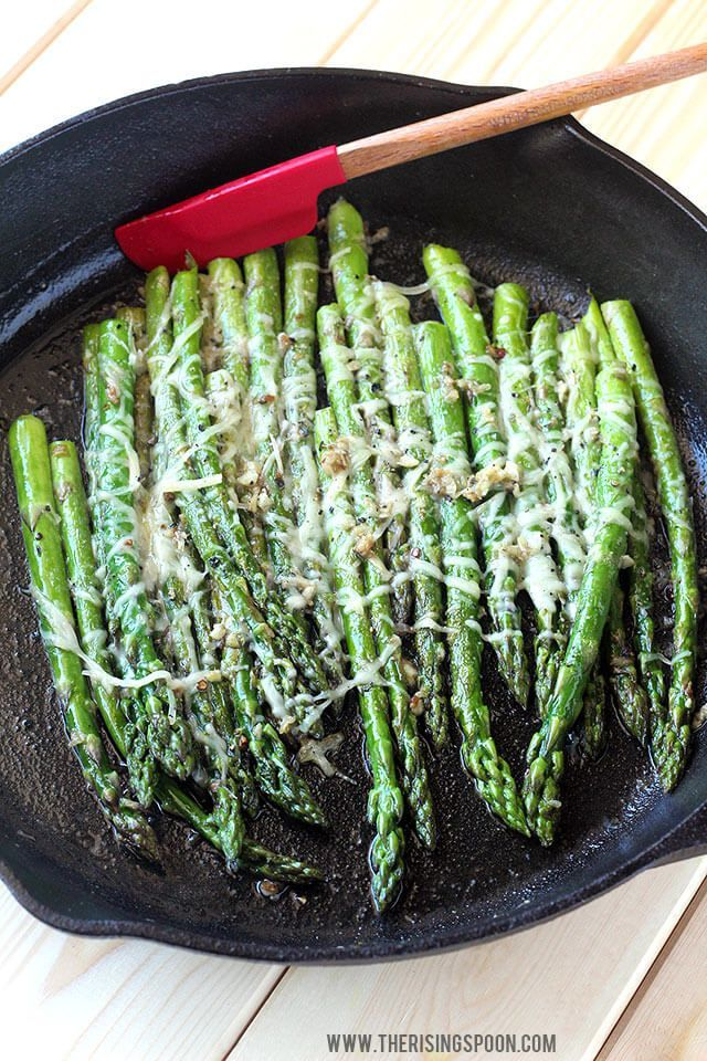 A quick & easy sauteed asparagus recipe with butter, garlic & shredded Parmesan cheese. In about 10 minutes or less, you'll have a simple side dish made with real food ingredients to accompany any meal.