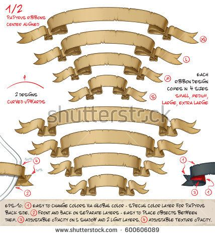 Vector cartoon illustration of age old papyrus or parchment ribbons. Set of two designs in four sizes each. Neatly layered and labeled to allow many variations and easy editing