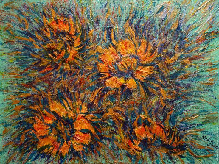 """Купить """"Огненные цветы"""" - картина акрилом. Абстрактные золотые цветы. - золотой, огненные цветы"""
