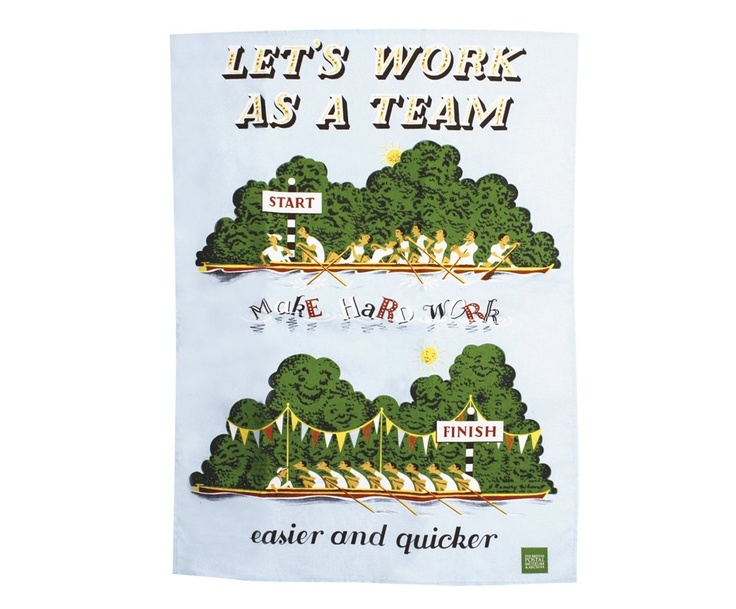 "£7.99 | If you're having trouble rallying the troops to help wash up after dinner, this tea towel is the perfect solution. It features a 1952 internal GPO poster advocating team work to ""Make hard work easier and quicker"". 100% cotton, 70x50cm, Wash before use."