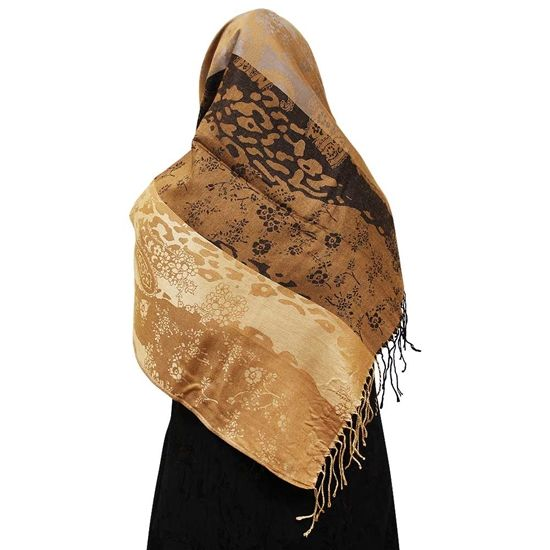 Gold Nude and Gray Hijab Animal Print Floral and Paisley Designs Scarf