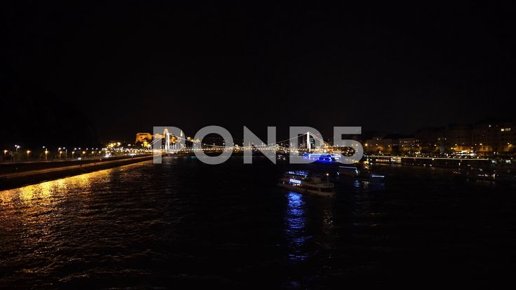 Danube River By night in Budapest - Stock Footage | by botiordog